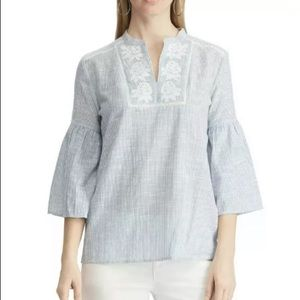 Chaps Embroidered Bell Sleeve Top Shirt Medium NWT